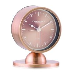 London Clock Company 'Glimmer' Spun Copper Silent Alarm Clock, 10cm x 8cm x 3.5cm