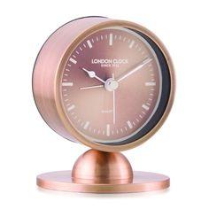 London Clock Company 'Glimmer' Spun Copper Silent Alarm Clock, 10cm x 8cm x 3.5cm
