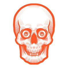 Orange Skull by Musketon #creepy #skeleton #orange #illustration #skull