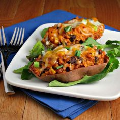 Southwestern Stuffed Sweet Potatoes #southwestern #food