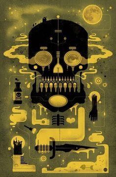 Bog In Mine Skull by GrahamErwin on Etsy #erwin #illustration #graham #skull