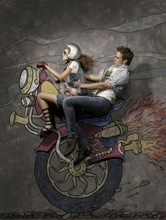 Illustration of bike and male and female model #model #surrealism #chalk #illustration #photography #art #street