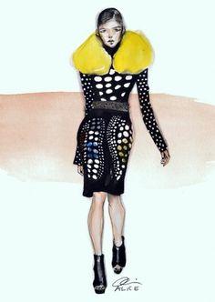 Allistration #model #woman #allistration #yellow #black #fashion #prada