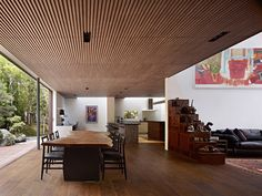 tech_spec : Photo #dining #ceiling #wood #architecture #open #room