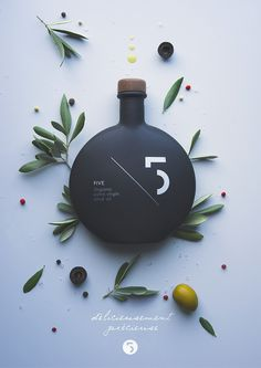 Pierrick Allan – Five Olive Oil #packaging #olive oil #graphic design