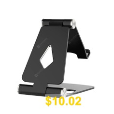 Foldable #Aluminum #Metal #Stand #Multi #Angle #Cell #Phone #Tablet #Desktop #Holder #- #BLACK