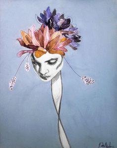 Flowering - Katie Melrose #girl #nature #colors #portrait #painting #flowers