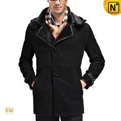 Hooded Sheepskin Shearling Coat for Men CW868903