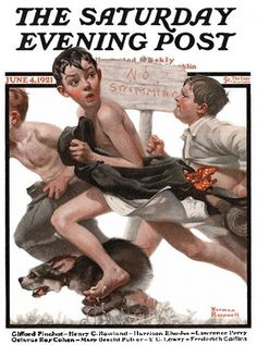 1921 6 4_No_Swimming_ _Norman_Rockwell.jpg (420×565) #rockwell #norman