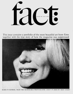 Ralph Ginzburg & Herb Lubalin, la revue Fact #fact #lubalin #marilyn monroe #layout #cover #magazine