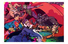 Heroes and Villians Pop Culture Comic Style Geek Art Nathan Fox