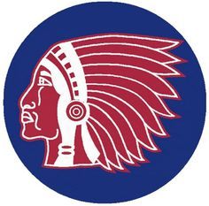 Boston Braves Primary Logo (1916) Red and white Native American head in sillouette on a blue circle #indian #mark #profile #sports