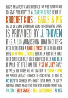 KKi Concert Series: Eagle & Pig presents J. Thoven - Krochet Kids international #concert poster #krochet kids