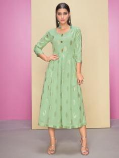 Pleasing Sea Green Rayon Casual Wear Kurta Inddus.com