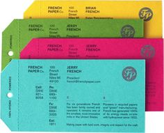French Paper Company business cards designed by charles s. anderson design co. | #bright #business #cards #anderson #co #s #colors #identity #french #charles #paper #perforated