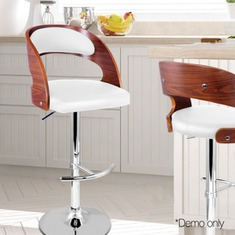 PU Leather Wooden Kitchen Cafe Bar Stool TUV Certified GasLift Padded Seat White-buy-now-cheap-price-australia-30