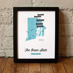 Rhode Island State Map #map #illustration
