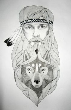 Triplicity : Orkacollective #illustration #indian #beard #wolf