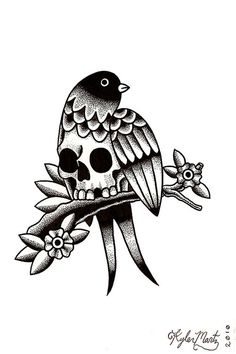 Kyler Martz #illustration #bird #skull