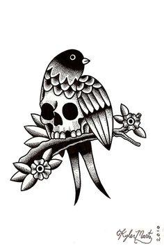 Kyler Martz #illustration #skull #bird