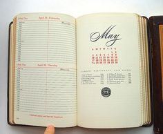 1950s Leather Bound Doctor Appointment Books by SweetLoveVintage #1950 #calendar #book #grid #letterform #midcentury #typography