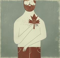 welcome! : Sergio Membrillas : ilustrador / illustrator #canada #leaf #beard #illustration #maple #man