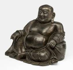 Bronze of Budai shown to his bag, leaning, sitting
