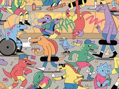 Illustration byDan Woodgerhttp://dribbble.com/shots/999991 Jurassic Skate Park #dino