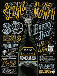 Erik Marinovich Rachael Ray Opener SM #cover #lettering #chalk #typography