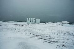 View : Nicole Dextras #installation #typography #dextras #temporary #outdoor #ice #nicole #winter