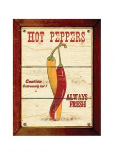 Hot peppers wood printed style poster 8 x 10 by HelloToYouAll #pepper #peppers #vintage #poster #vegetable