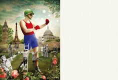 Sonia Roy, Colagene.com #vinatge #photomontage #war #illustration #boxe #fight #collage
