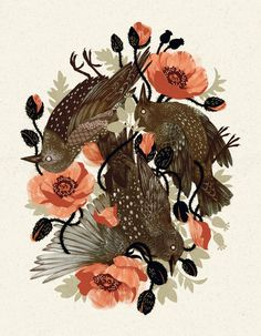 Spangled & Plumed Art Print by Teagan White #print #floral #bird #illustration #nature #vintage #art