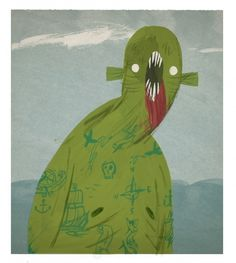 Eyesores (joetoddstanton: nautical sea monster) #monster #illustration #green
