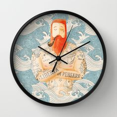Sailor by Seaside Spirit #sailor #wallclock #illustration