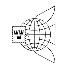 Logo for the Sweden General Post Office designed by Martin Gavler 1955 #post #crown #trademark #modern #icon #office #bird #identity #vintage #scandinavian #mid #century #logo