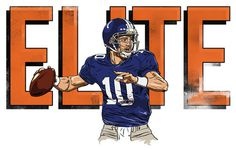 My Eli shirt design. Going up for sale soon. (via Dribbble Eli dribbble lg.jpg by Timothy McAuliffe) #elite #nfl #illustration #giants #manning #york #football #drawing #eli #new