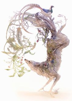 coyote, wolf, pheasant, foliage, art, fine art, sculpture, Ellen Jewett, Jewett, animal