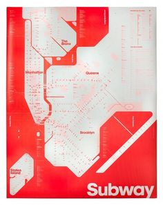 Triboro's One-Color Subway Map | September Industry #subway #bright #red #map
