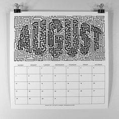 MWM : B/W Typography 2011 Calendar. on the Behance Network #typography #calendar #white #lettering #black #maze