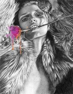 Sara O'Neill Pencil Illustrations (1) #girl #sex #pink #rose #fur #illustration #portrait #drawing #sketch