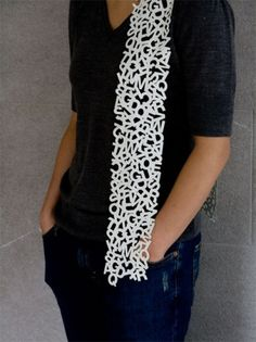 Uppercase Scarf | Little Factory #white #letters #scarf #little factory #laser cut