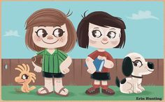 Peppermint_patty_and_marcie #charlie #peanuts #illustration #brown #cartoon