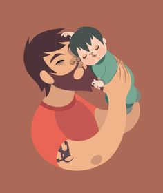 L O V E on Behance #child #father #illustration #dad #love #baby