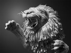 Paper Lion Constructed from Hotel Receipts by Kyle Bean #sculpture #art
