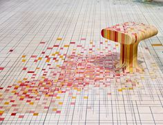 furniture made of dye-soaked pieces of timber
