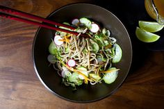 cold buckwheat noodles with miso and ginger #food