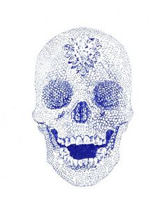 Larissa Kasper #ink #jewels #stippling #illustration #blue #skull