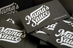 Mama's Sauce Business Cards - FPO: For Print Only #sauce #letterpress #mamas #identity #french #paper