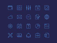 20 Free Minimal Line Icons PSD